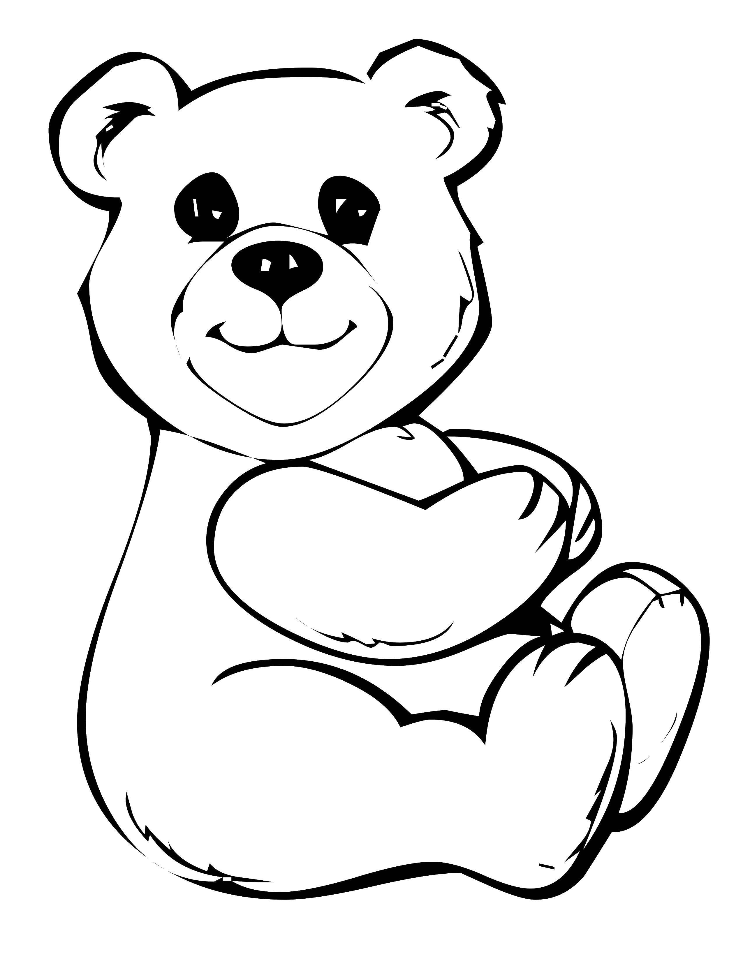 рисунок медведя для раскрашивания зимних