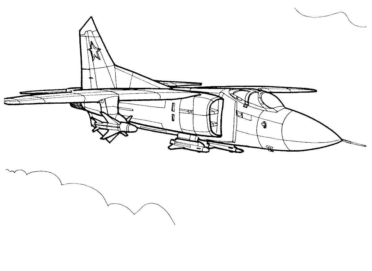 Раскраски самолетик, Раскраска Самолётик со злобным ртом ...