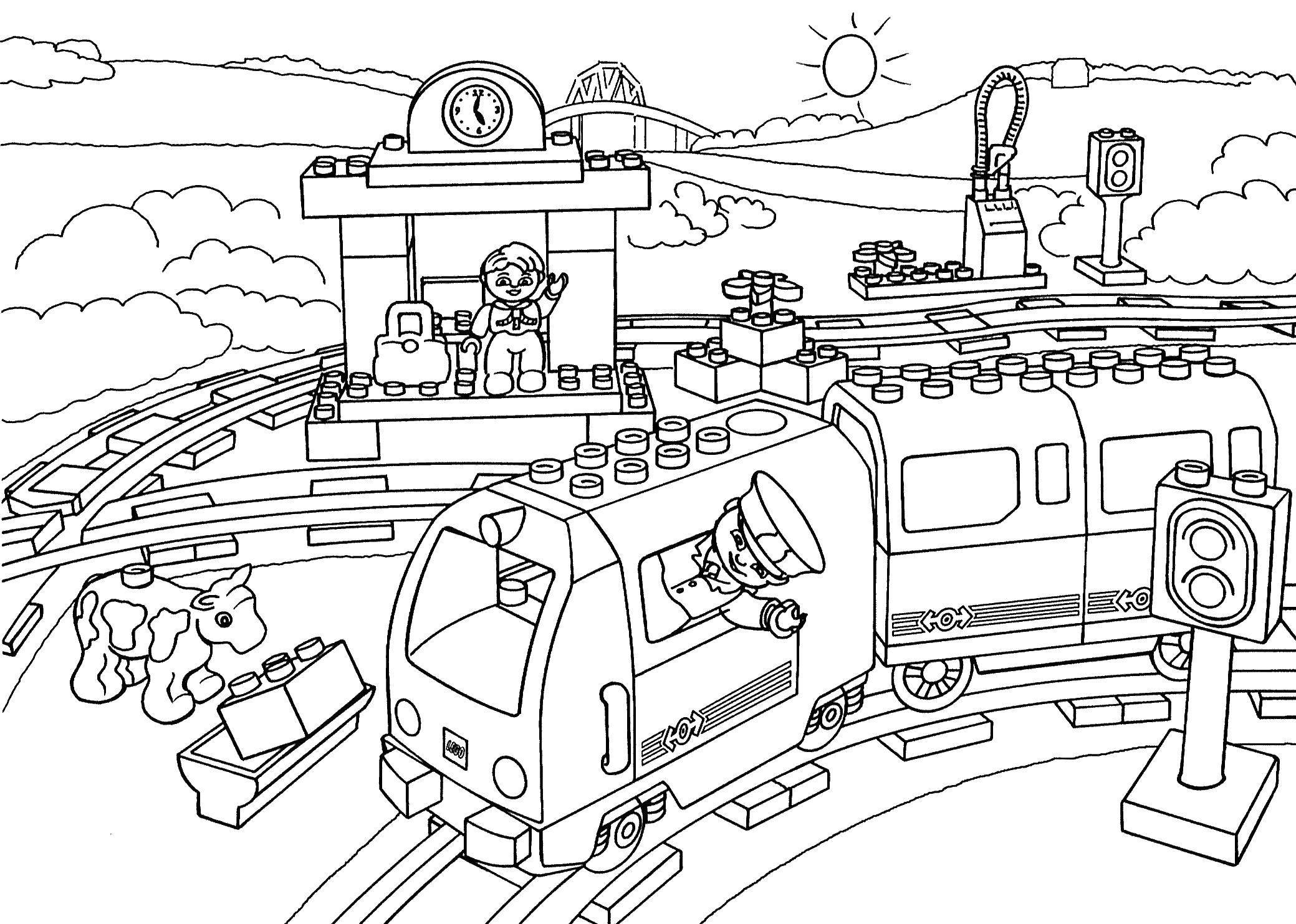 Раскраска Железная дорога лего Скачать ,лего, конструктор, железная дорога, поезд,.  Распечатать