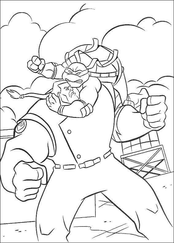 Coloring sheet teenage mutant ninja turtles Download technique, robot.  Print ,Technique,