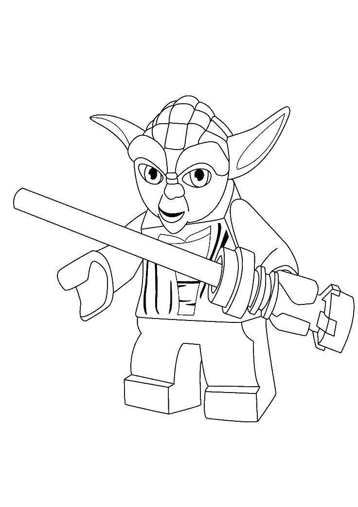 Название: Раскраска Лего йода. Категория: Лего. Теги: игры, конструктор, Лего, Йода.