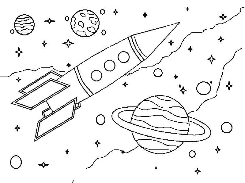 Coloring Rocket in space Download ,Space,.  Print