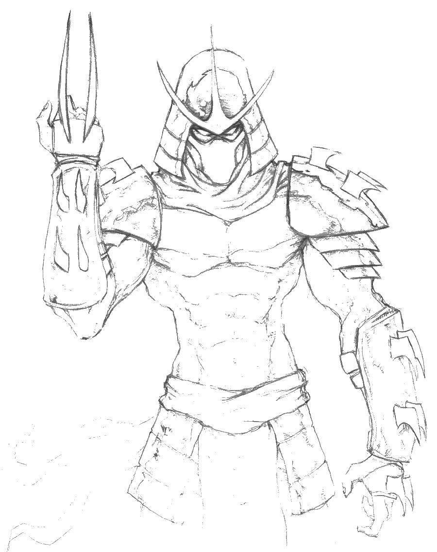 Раскраски мечем, Раскраска Черепашка с мечем черепашки ниндзя.