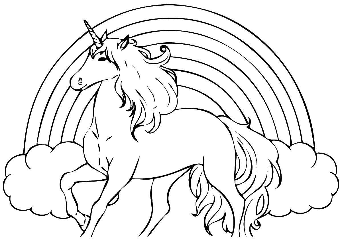 Раскраска Единорог на радуге Скачать ,единорог, пони,.  Распечатать