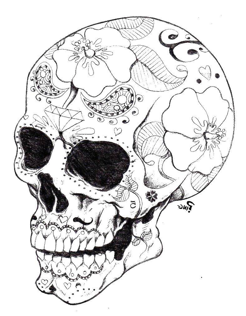 Coloring sheet skull Download Nature, forest, mountains, river.  Print ,Nature,