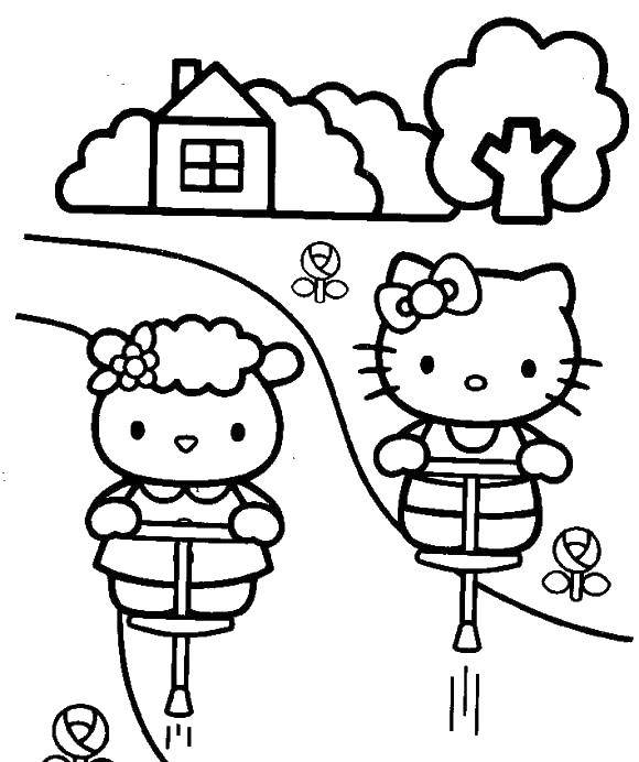 Coloring sheet Hello Kitty Download month, stars, night.  Print ,coloring,