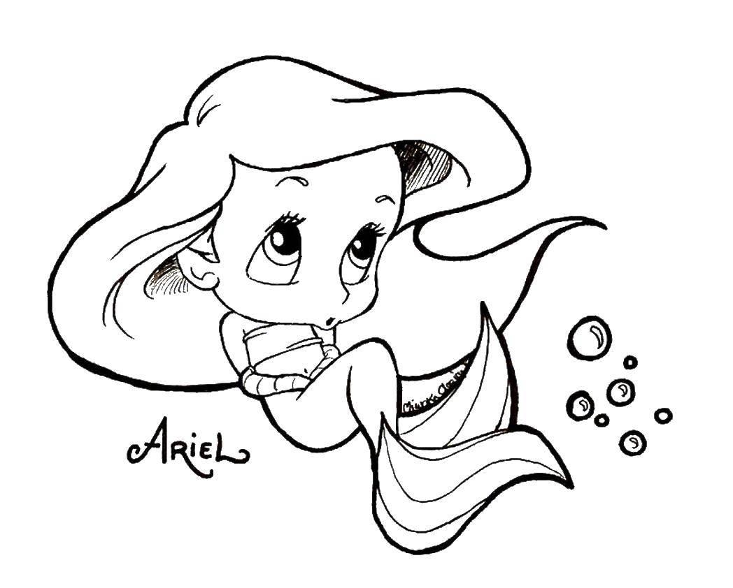 Coloring Baby Ariel Download Disney, the little mermaid, Ariel.  Print ,Disney cartoons,