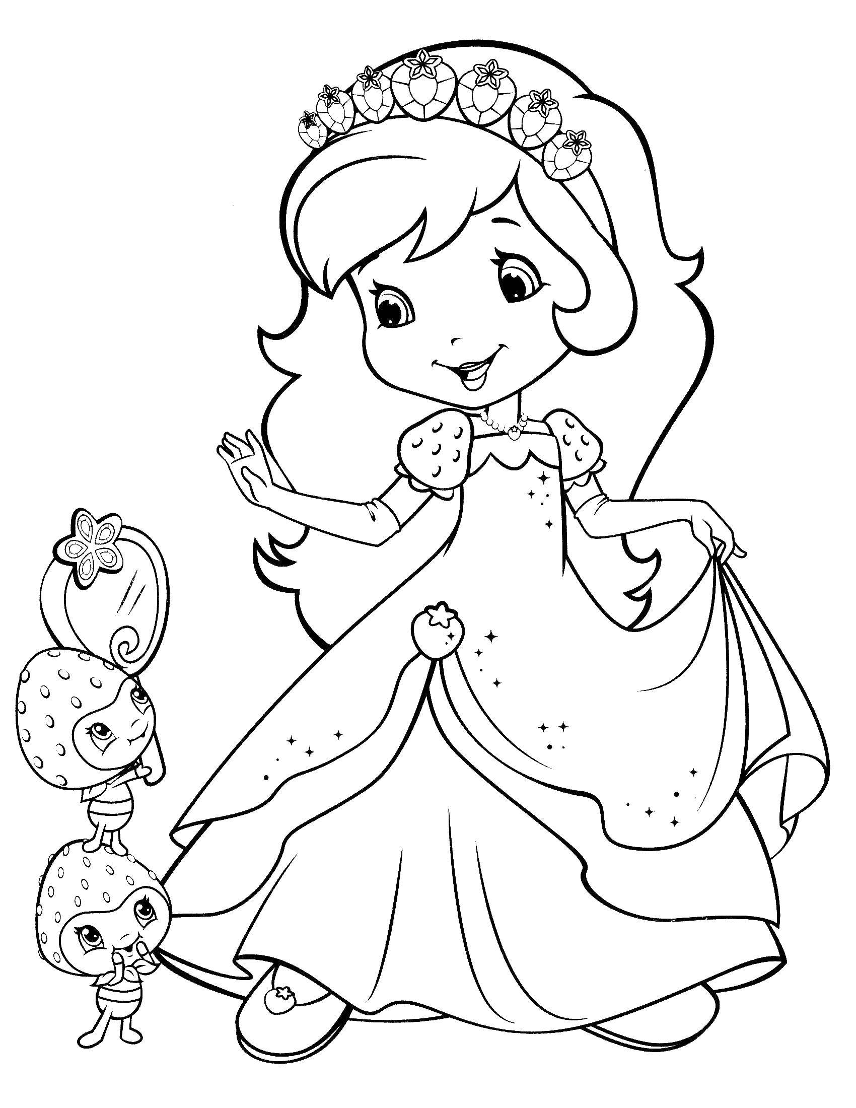 Coloring Strawberry Charlotte tries on a dress. Category cartoons. Tags:  Charlotte, strawberry.