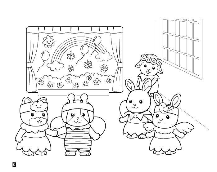 Coloring sheet Sylvania family Download children, school, cleaning.  Print ,school,
