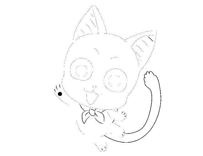 Раскраски кошечку, Раскраска Рисуем кошечку аниме аниме ...