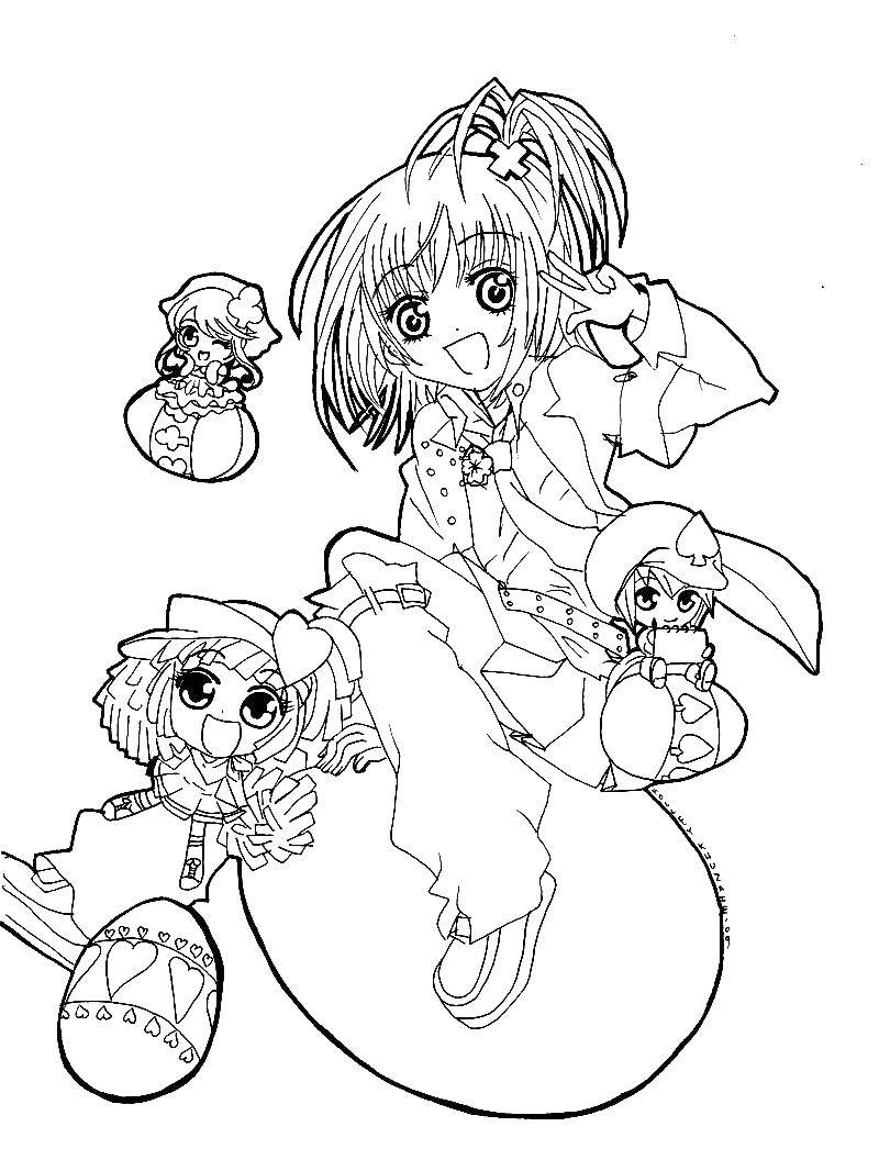Coloring sheet anime Chara guardians Download leaves.  Print ,The contours of the leaves,