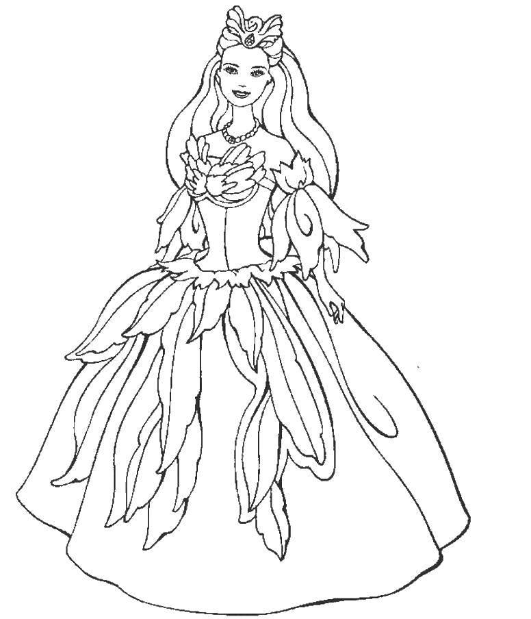 Раскраска Барби принцесса лебедь Скачать ,Барби, принцесса, лебедь,.  Распечатать