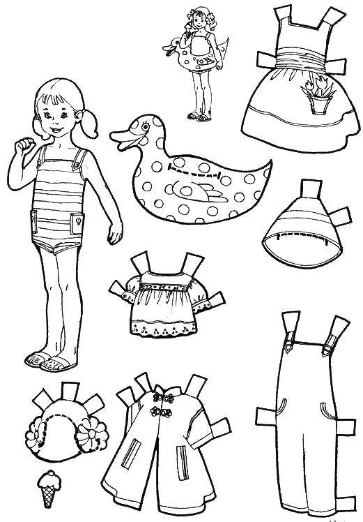 Coloring sheet clothes and doll Download .  Print