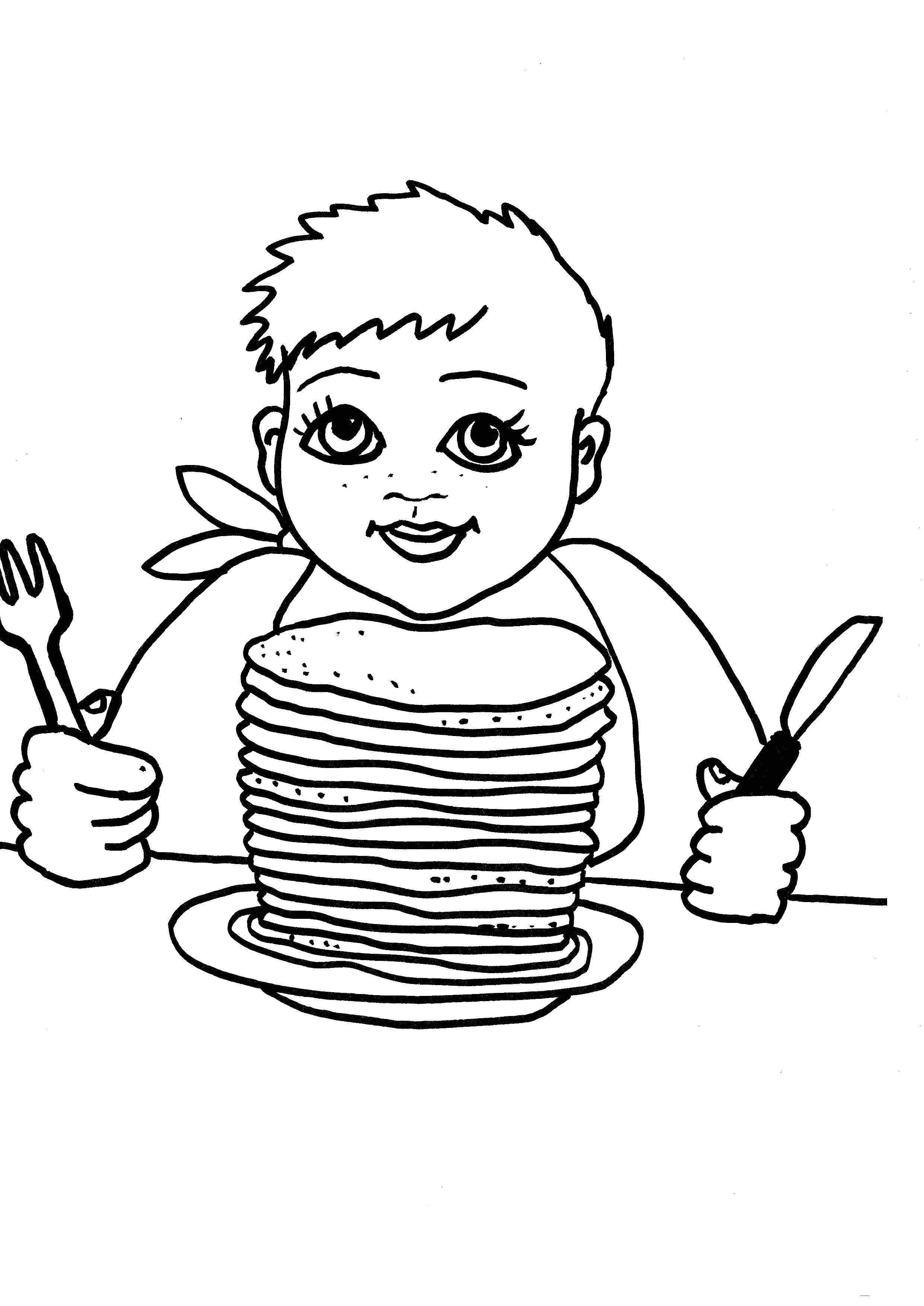 Раскраски Контур, Раскраска Контур кекса еда.