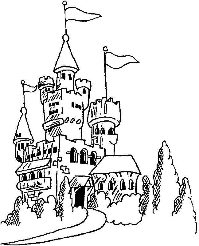 замок рисунок раскраска должны