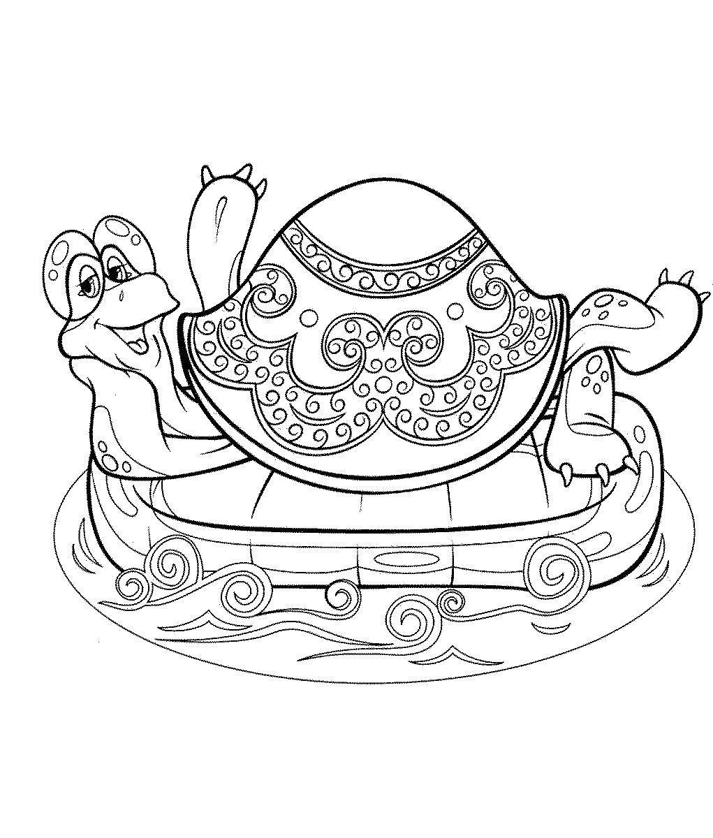 Раскраски Раскраска Большая черепаха львенок и большая ...