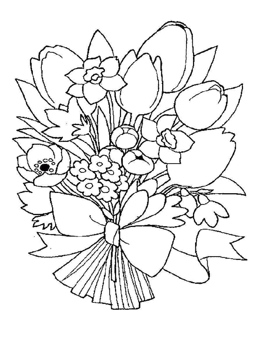 Раскраска Букет из чудесных цветов Скачать ,Цветы, букет,.  Распечатать