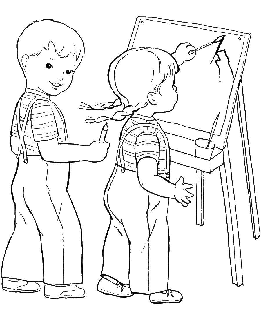 Раскраски рисуют, Раскраска Дети рисуют картину школа.