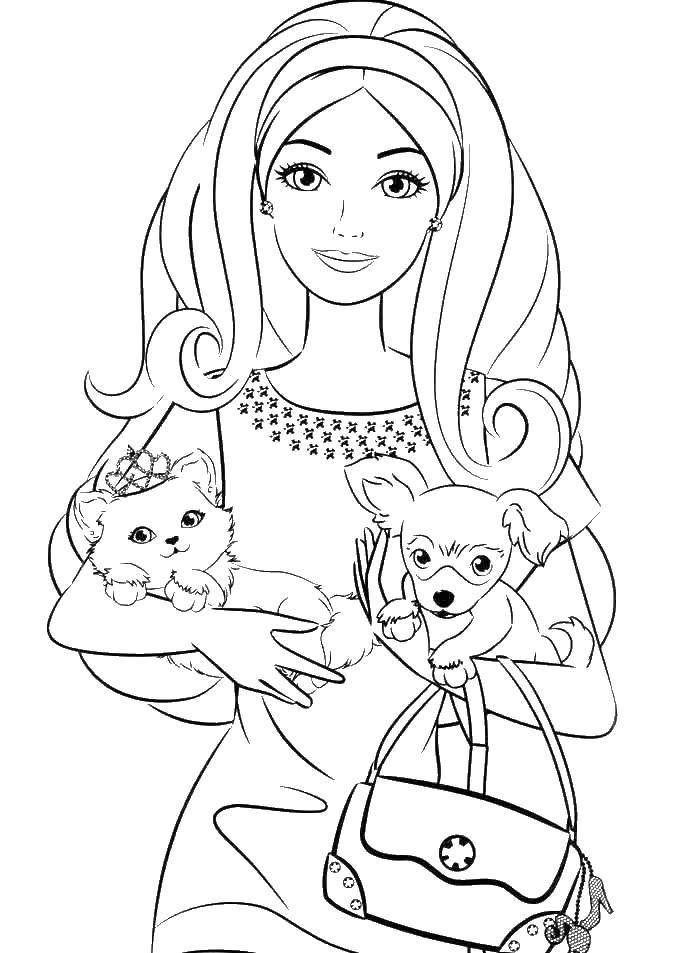 Раскраски Барби, Раскраска Барби с собачкой и кошечкой Барби.