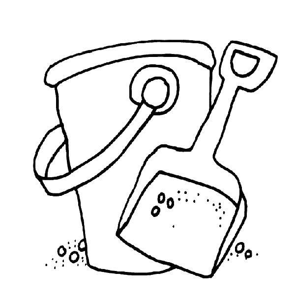 Beach Bucket, Ball & Shovel Coloring Pages for Kids - YouTube   603x600