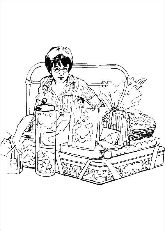 Раскраски гарри, Раскраска Эмблема хогвартса Гарри Поттер.