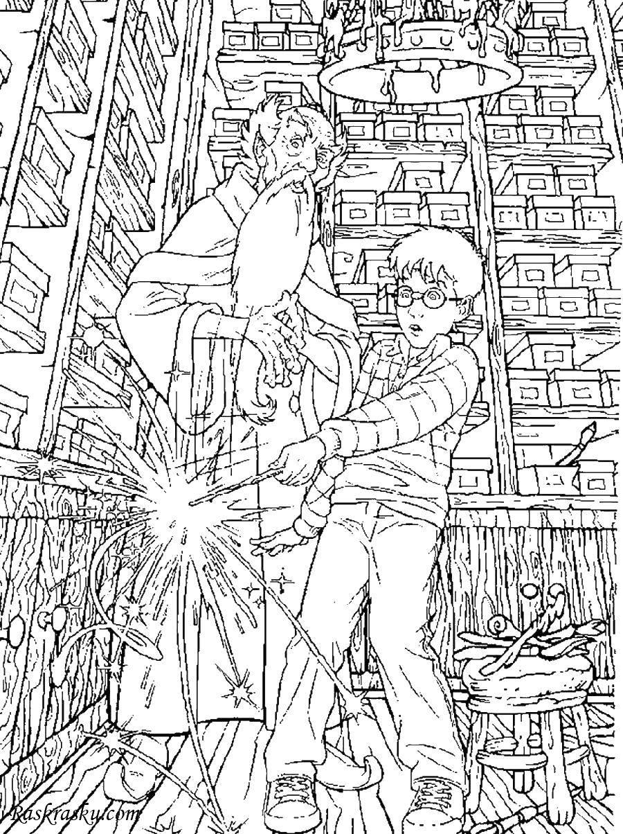 Раскраски гарри, Раскраска Гарри поттер и рон гарри поттер.