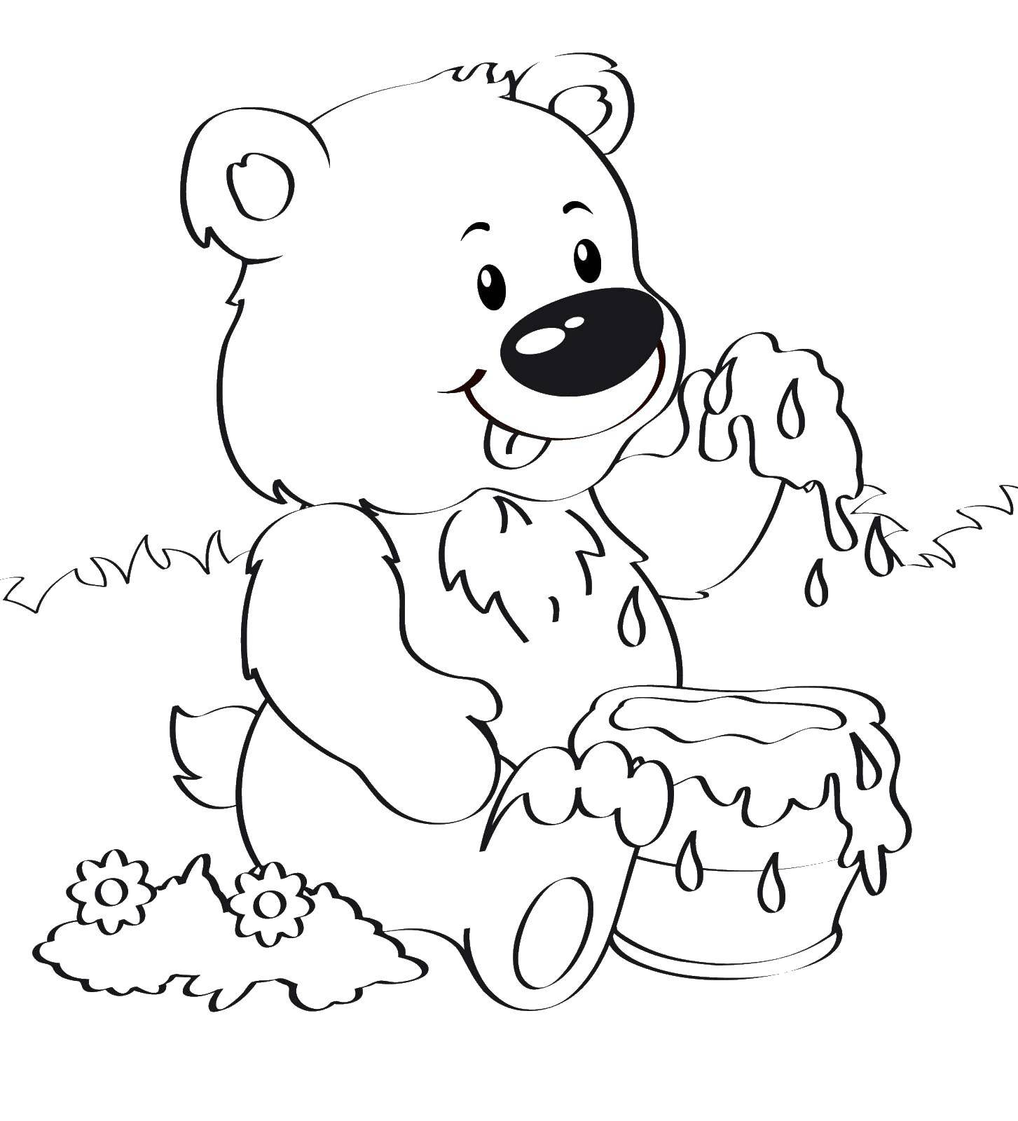 детализированы рисунок медведя для раскрашивания конструкции изделия
