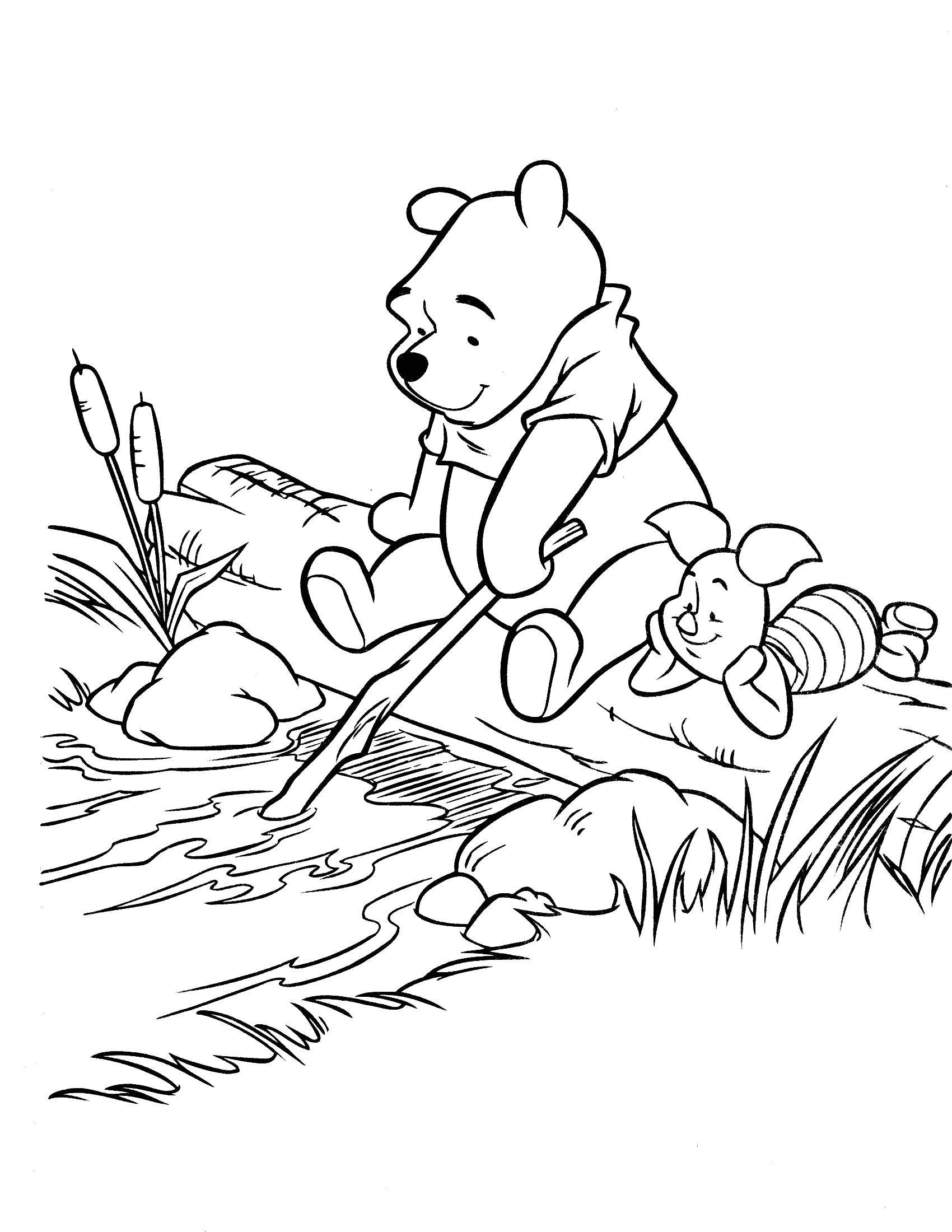 Coloring Winnie the Pooh and Piglet Download Disney honey, Winnie the Pooh, Piglet.  Print ,Disney cartoons,