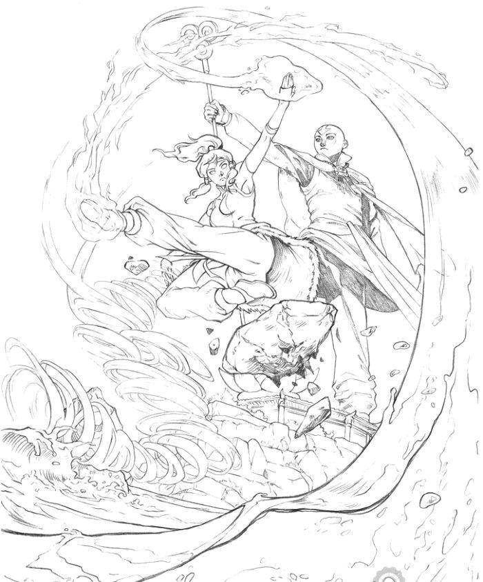 Raskraski Avatar Raskraska Aang I Kora Avatar
