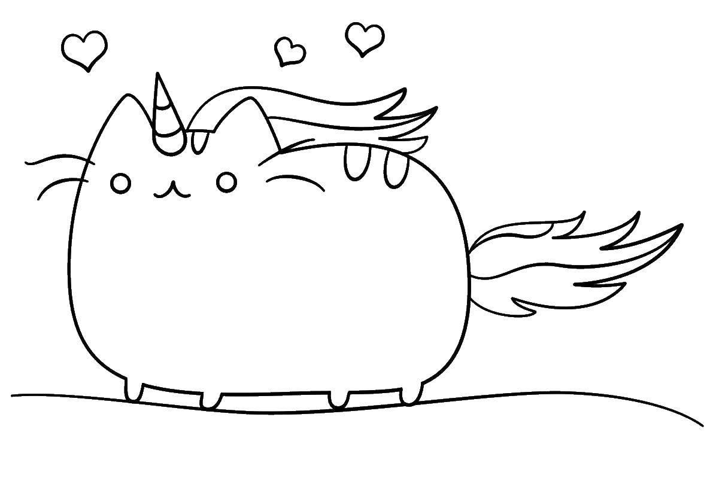 Раскраска Кошечка Скачать ,животные, кошка, котенок,.  Распечатать