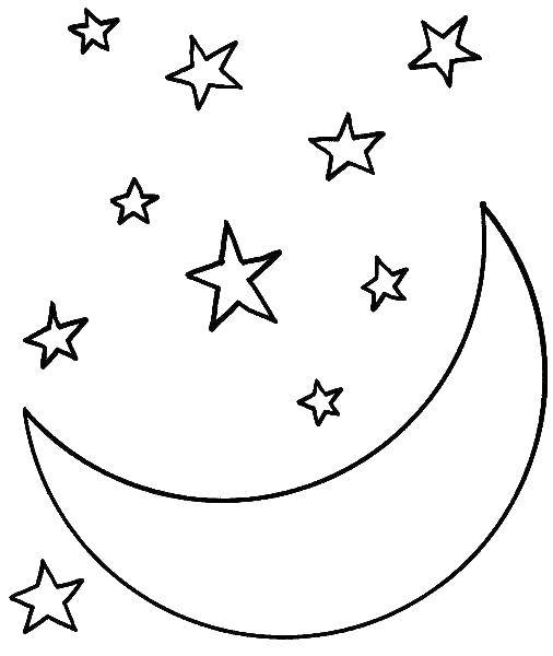 Coloring The moon and stars. Category coloring. Tags:  month, stars, night.