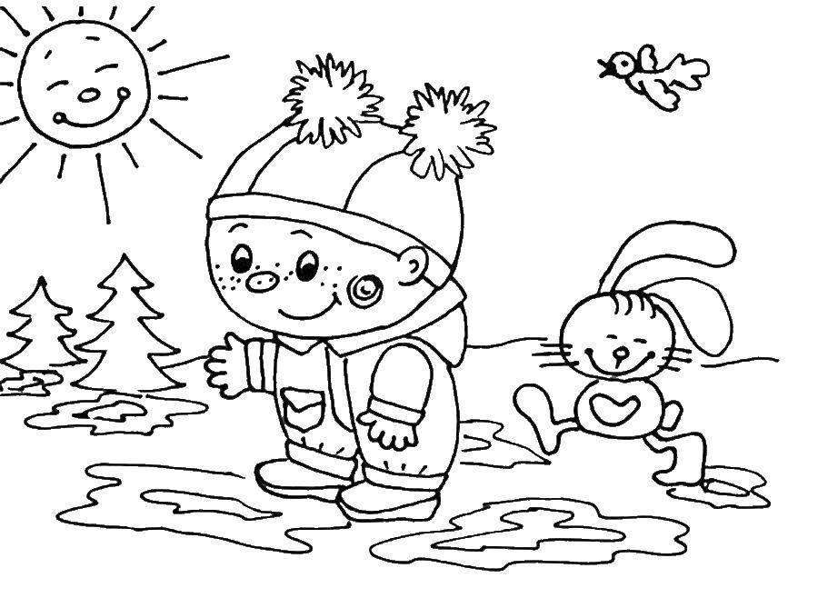 Coloring A child plays with sicom. Category children. Tags:  children, child.