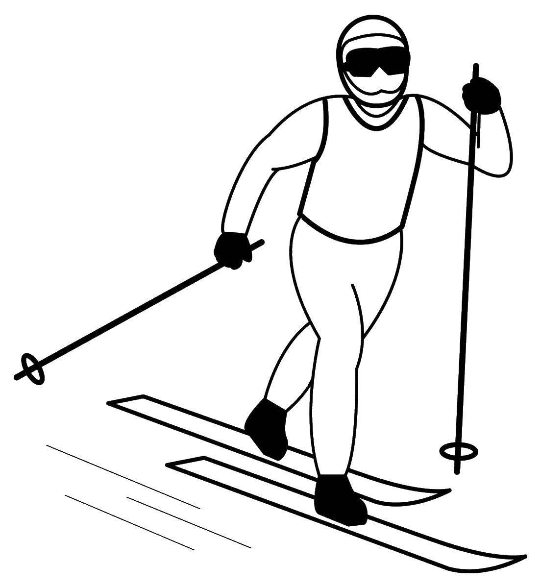 Раскраска лыжи Скачать ,лыжник,лыжи,.  Распечатать
