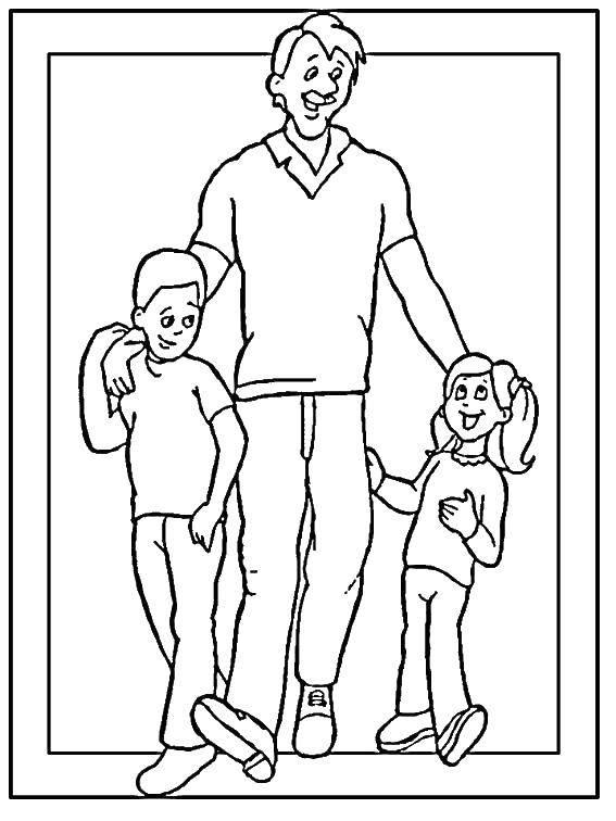 картинка черно-белая папа с детьми мария конте