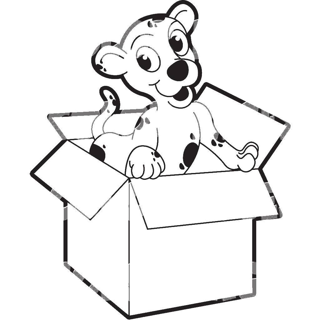 раскраска коробка с игрушками