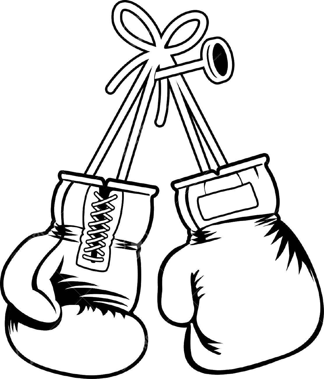 Раскраска бокс Скачать ,перчатки,.  Распечатать