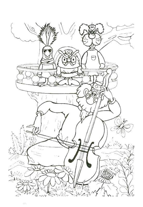 Coloring sheet Dr. Feelgood Download dog, pop-corn.  Print ,Pets allowed,