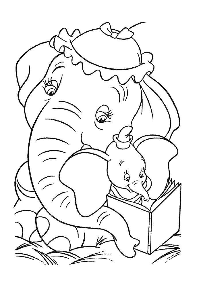 Online Coloring Pages Baby Coloring Baby Elephant Dumbo With Mom Dumbo