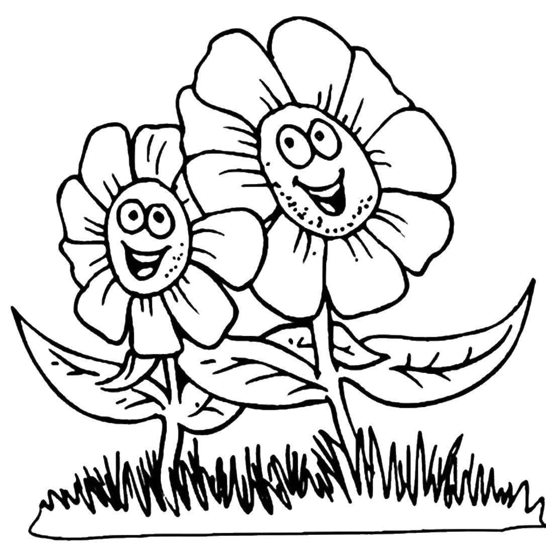 картинка цветы раскраска лето при