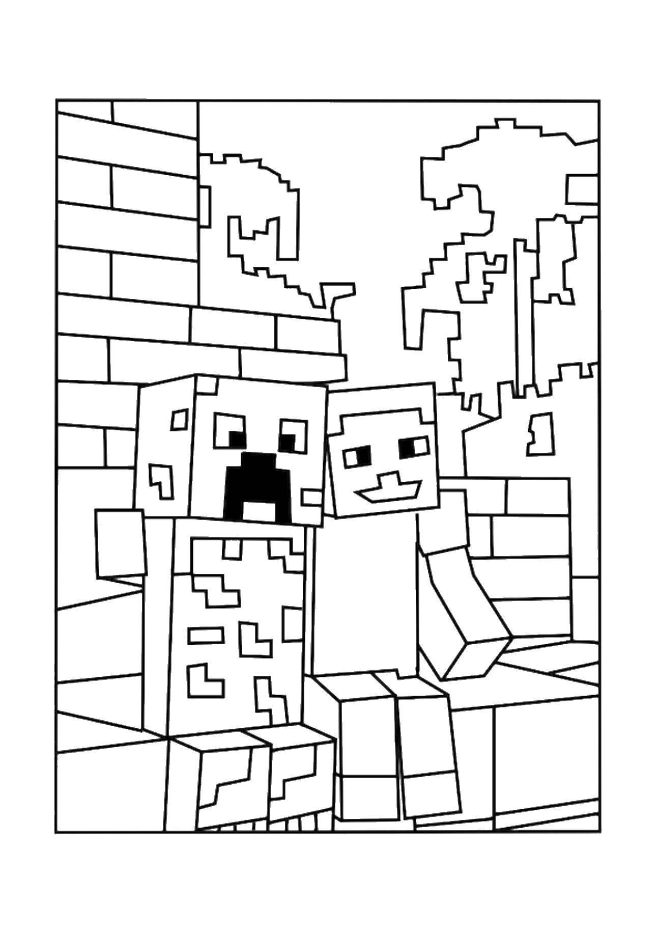 Coloring sheet minecraft Download cum, boy.  Print ,school,