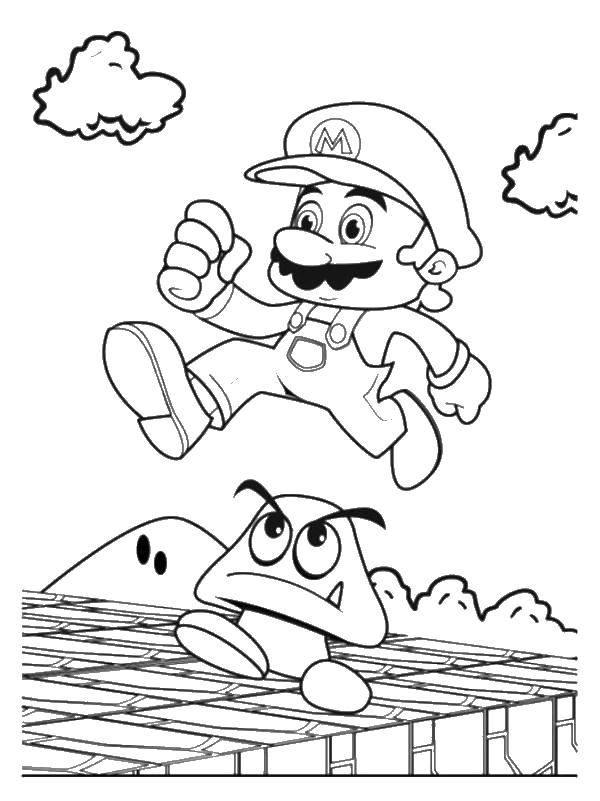 Coloring Super Mario jumping over a mushroom Download ,super Mario,.  Print