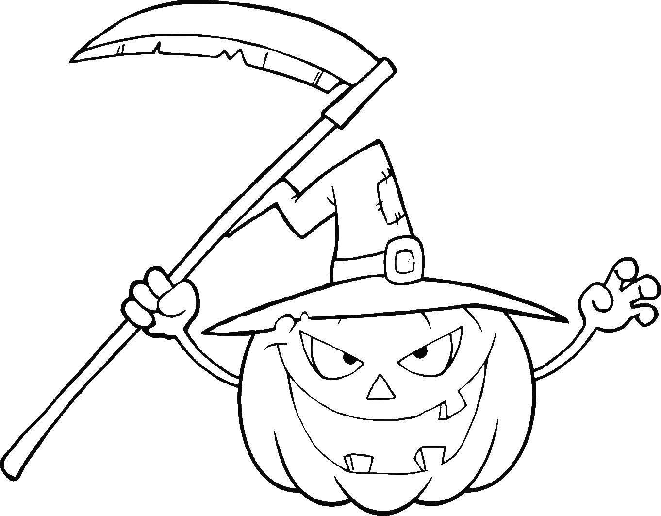 Раскраски хэллоуин, Раскраска Тыква в шляпе тыква на хэллоуин.