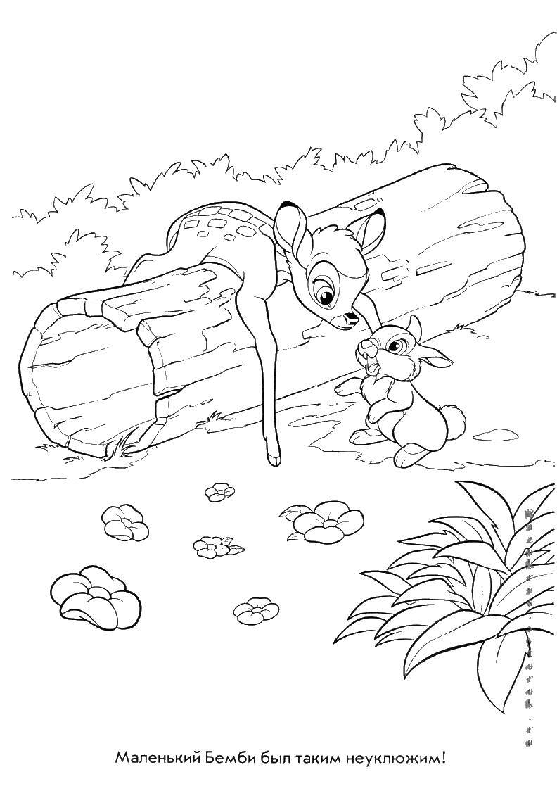Coloring sheet Bambi Download month, angel, night.  Print ,coloring,