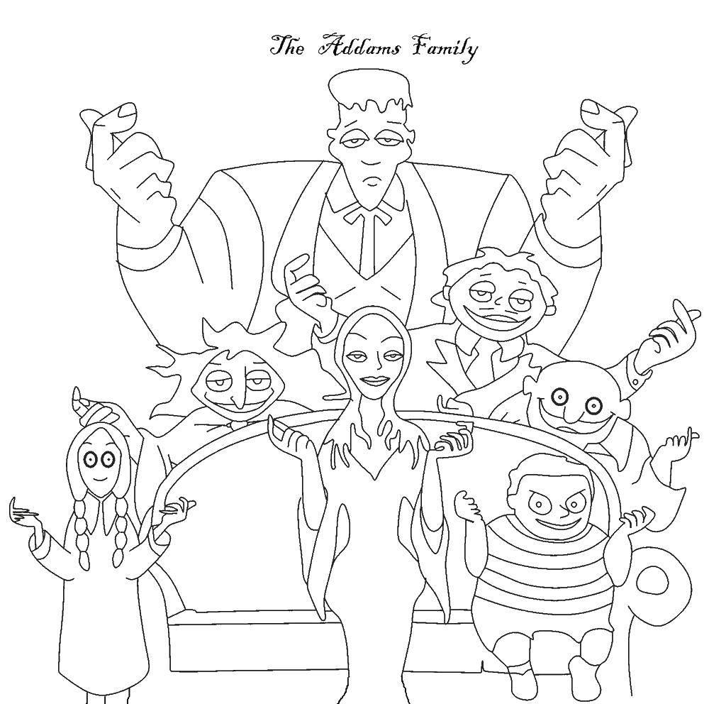 Раскраска Семейка аддамс Скачать ,Семья, родители, дети,.  Распечатать