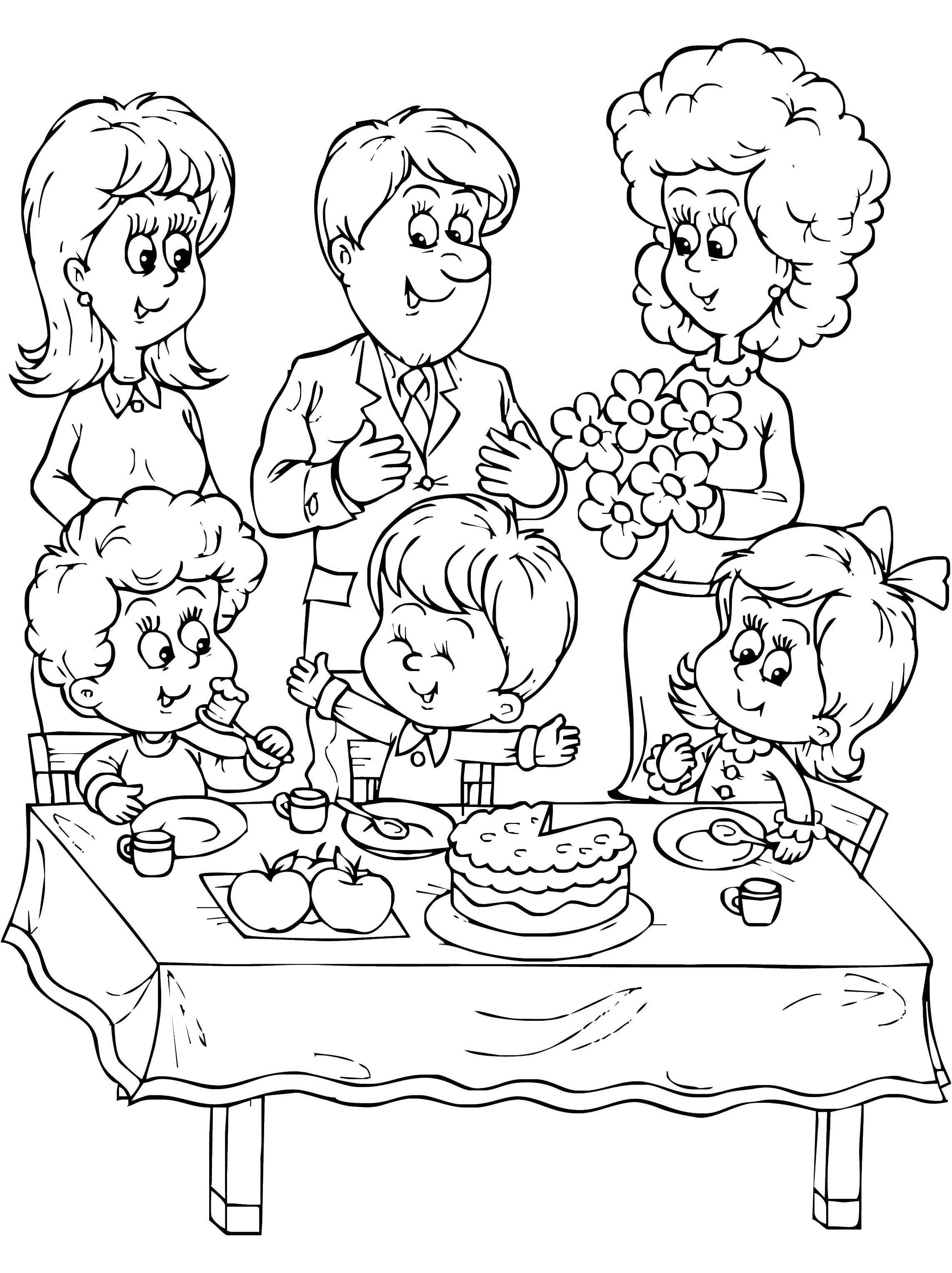 Coloring sheet Family members Download vase with fifteen sunflowers, van Gogh,.  Print