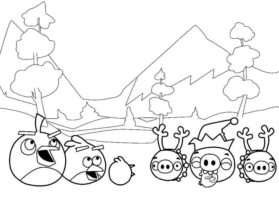 Раскраски Angry Birds, Раскраска Игра angry birds angry birds.