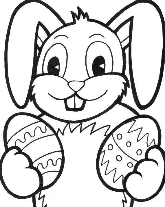 Раскраска пасхальные раскраски Скачать ,пасхальный кролик,яица,.  Распечатать
