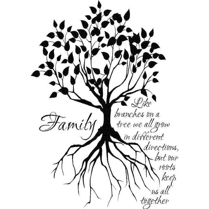 Раскраски семейное, Раскраска Семейное дерево на ...