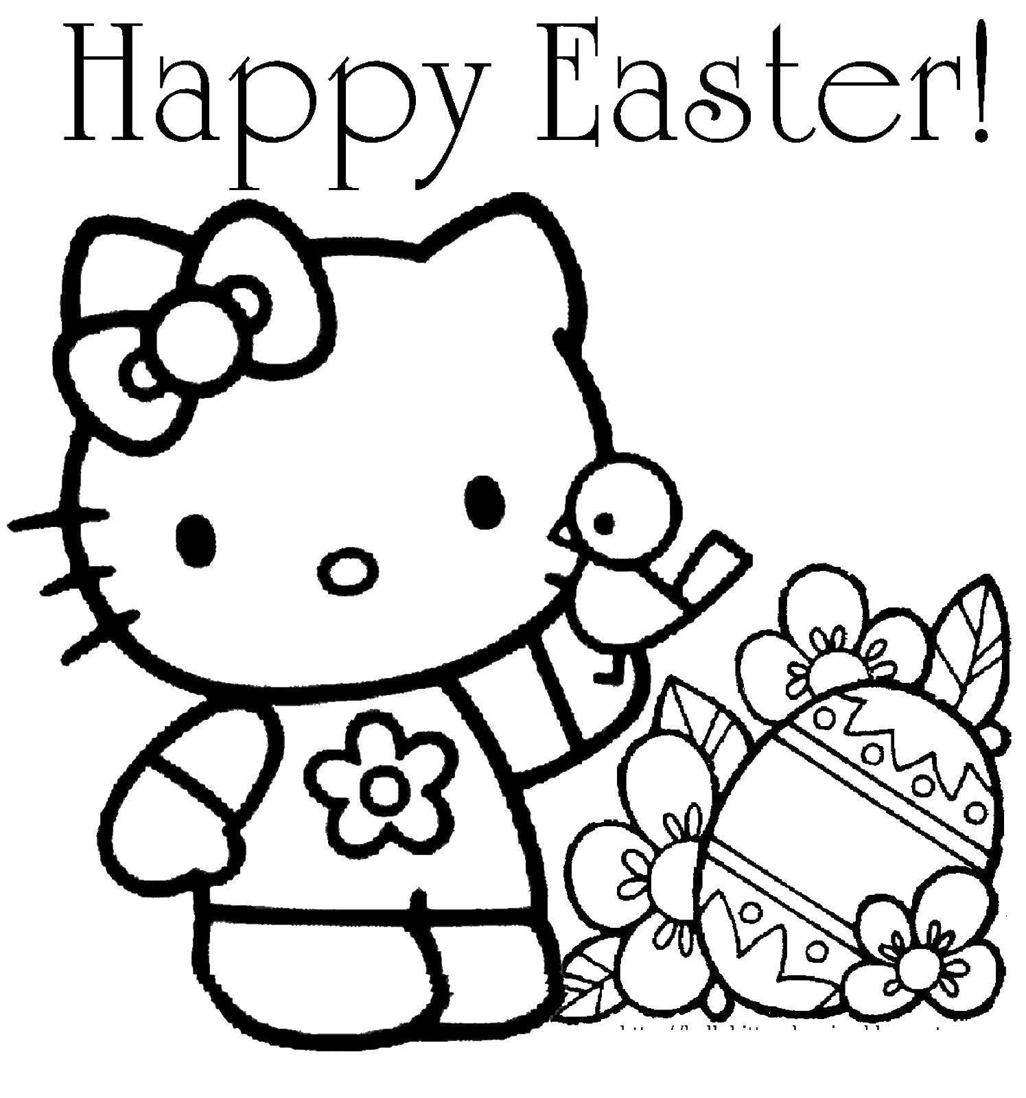 Раскраска пасхальная открытка Скачать ,Hello Kitty, яйцо, птичка,.  Распечатать