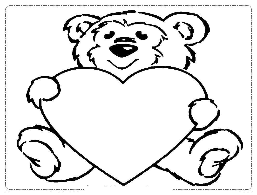 шаблон мишки для открытки ко дню святого валентина год такой